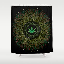 Magic plant. Marijuana leaf. mandala Shower Curtain
