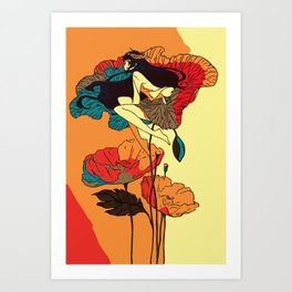 Poppies Girl in the Wind Art Print