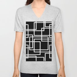 Interlocking White Squares Artistic Design Unisex V-Neck