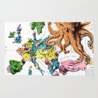 political Area & Throw Rugs featuring Vintage Political Cartoon Map of Europe (1877)  by BravuraMedia