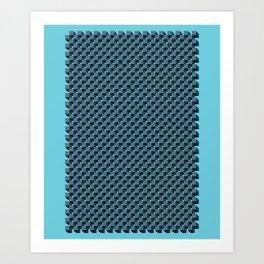 3D Cube Drawing Pattern - Blue & Green Art Print