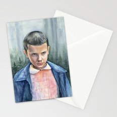 Stranger Things Eleven Watercolor Portrait Art Stationery Cards