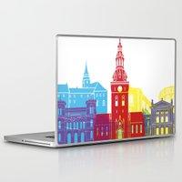oslo Laptop & iPad Skins featuring Oslo skyline pop by Paulrommer