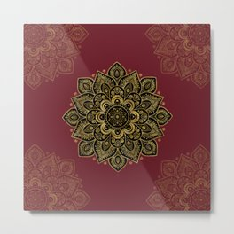 Golden Flower Mandala on Red Metal Print