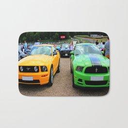 Yellow and Green Mustangs Bath Mat
