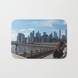 Brooklyn Bridge View on Manhattan Bath Mat