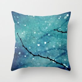 Winter Snow Branches  Throw Pillow