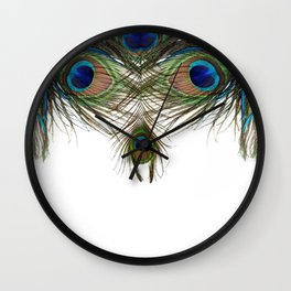BLUE-GREEN PEACOCK FEATHERS WHITE ART Wall Clock