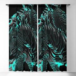 Turquoise Inverse Zebras Blackout Curtain