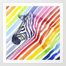 Animal Zebra Rainbow Art Print