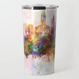 La Rochelle skyline in watercolor background Travel Mug