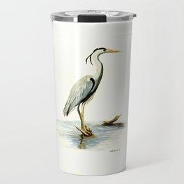 Blue Heron - watercolor bird, home decor, nursery wall art Travel Mug