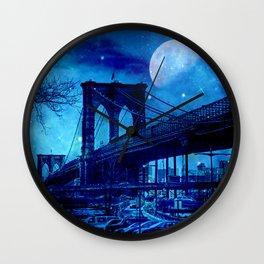 Full Moon Over Brooklyn Bridge Wall Clock