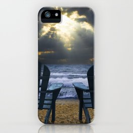 Two Adirondack Deck Chairs on the Beach with Waves crashing on the Shore iPhone Case