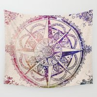 mandala Wall Tapestries featuring Voyager II by Jenndalyn
