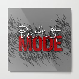 Beast Mode / Red and White Metal Print