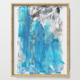 Modern Abstract Art - Blue Essence - Sharon Cummings Serving Tray