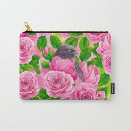 Pink Robin and roses Carry-All Pouch