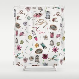Boo Boo's Mini Sewing Kit Shower Curtain