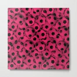 Field of Pink Soccer Balls Metal Print