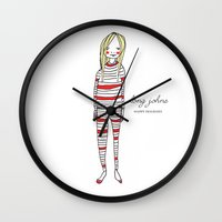 marc johns Wall Clocks featuring Limited Edition - Long Johns by C.M.W. Illustration