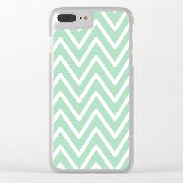 Chevron Wave Mint Clear iPhone Case