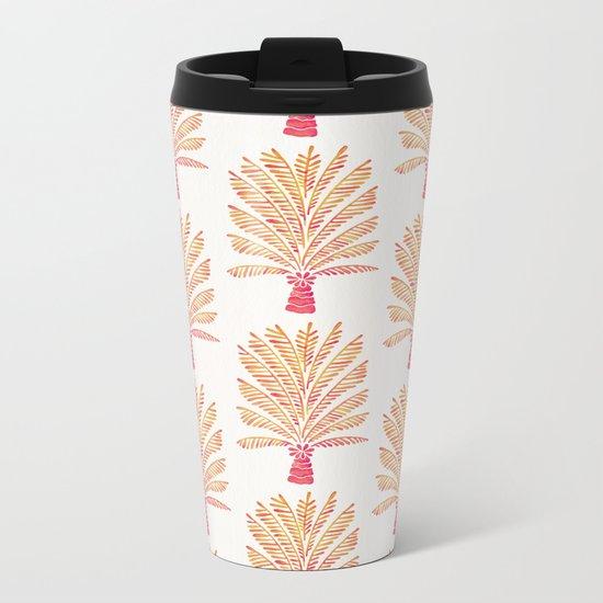 Palm Tree – Peachy Pink Palette Metal Travel Mug