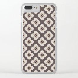 Starburst Floral, Dark Chocolate background Clear iPhone Case