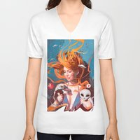 gravity V-neck T-shirts featuring GRAVITY by Javier G. Pacheco
