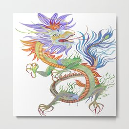 Bright and Vivid Chinese Fire Dragon Vector Metal Print