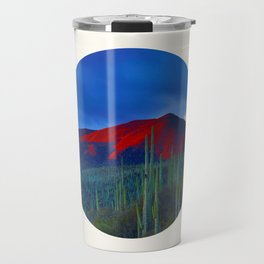 Mid Century Modern Round Circle Photo Red Mountain Sunset With Field of Green Cactus Travel Mug