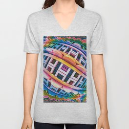 Brace Face Space. 3D Abstract Design Unisex V-Neck