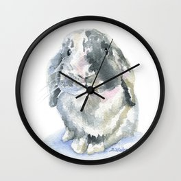 Gray and White Lop Rabbit Wall Clock