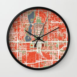 Beijing city map classic Wall Clock