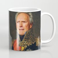 clint eastwood Mugs featuring Clint Eastwood Old Canvas by Maioriz Home