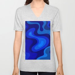 Blue Abstract Art Colorful Blue Shades Design Unisex V-Neck