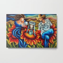Coffee on flowers. Miguez Art. Metal Print