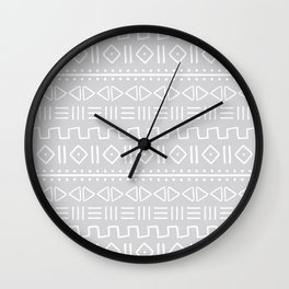 mudcloth white on grey Wall Clock