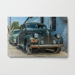 Antique Cars outside an old Route 66 Service Station in Odell, Illinois Metal Print
