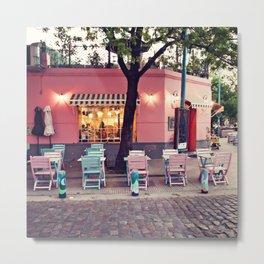 Pastel Cafe Metal Print