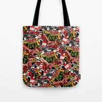 bands Tote Bags featuring BANDS by DIVIDUS