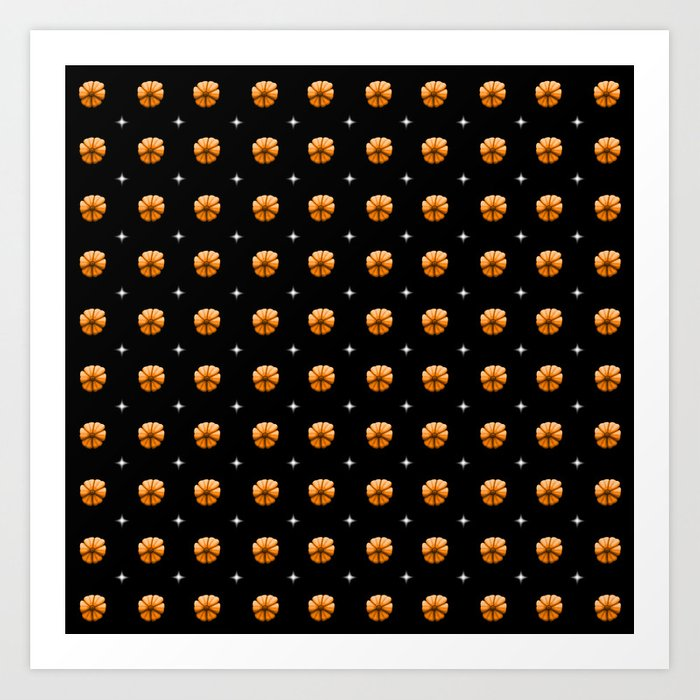 White stars orange flowers grid Art Print