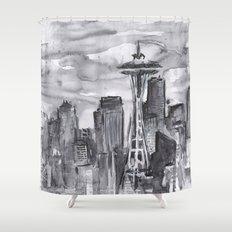 Seattle Skyline Watercolor Space Needle Washington PNW Shower Curtain