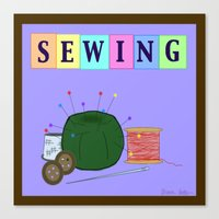 sewing Canvas Prints featuring Sewing by Grace Isabel