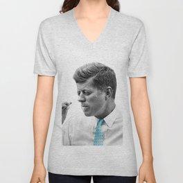 John F Kennedy Smoking Unisex V-Neck