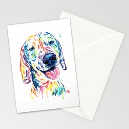 Dachshund - Colorful Watercolor Dog Pet Portrait Painting Stationery Cards
