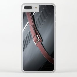 Red Leather Clear iPhone Case