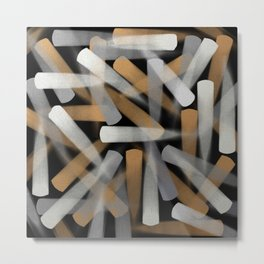 Paint Brush Strokes in Gold, Silver and White Metal Print