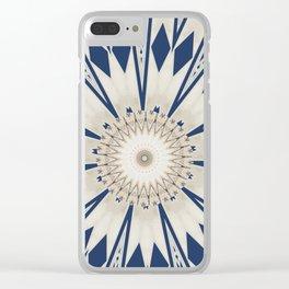 Bright Blue Marble Mandala Design Clear iPhone Case
