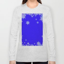 LACEY WHITE SNOWFLAKES HOLIDAY BLUE ART Long Sleeve T-shirt